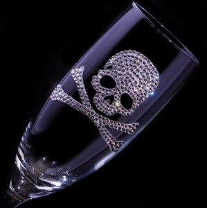 【シャンパングラス スカル】 結婚祝い 誕生日 プレゼント ギフト スワロフスキー デコグラス