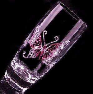 【ロングタンブラー  バタフライ】 結婚祝い 誕生日 プレゼント ギフト スワロフスキー デコグラス