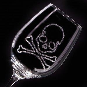 【白ワイングラス スカル】 結婚祝い 誕生日 プレゼント ギフト スワロフスキー デコグラス
