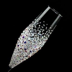 【シャンパングラス バブルシャワー】 結婚祝い 誕生日 プレゼント ギフト スワロフスキー デコグラス