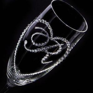 【シャンパングラス オープンハート&イニシャル】 結婚祝い 誕生日 プレゼント ギフト スワロフスキー デコグラス