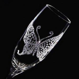 【シャンパングラス バタフライ】高級ギフトボックス付き  結婚祝い 誕生日 プレゼント ギフト スワロフスキー デコグラス