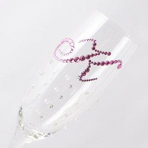 【シャンパングラス イニシャル×ドット柄クリスタル】 結婚祝い 誕生日 プレゼント ギフト スワロフスキー デコグラス