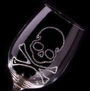 【赤ワイングラス スカル】 結婚祝い 誕生日 プレゼント ギフト スワロフスキー デコグラス