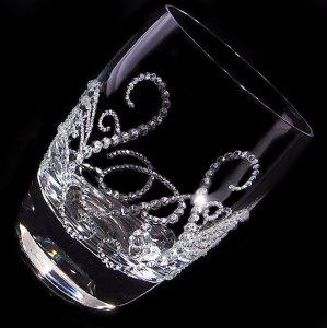 【タンブラー ティアラ&イニシャル】 結婚祝い 誕生日 プレゼント ギフト スワロフスキー デコグラス