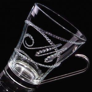 【マグカップ 螺旋&イニシャル】 高級ギフトボックス付き 結婚祝い 誕生日 プレゼント ギフト スワロフスキー デコグラス