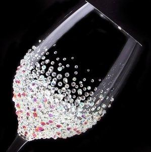 【白ワイングラス バブルシャワー】 結婚祝い 誕生日 プレゼント ギフト スワロフスキー デコグラス