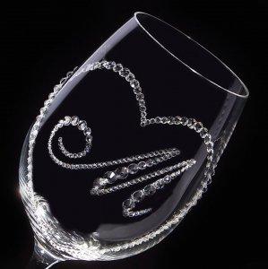 【白ワイングラス オープンハート&イニシャル】高級ギフトボックス付き   結婚祝い 誕生日 プレゼント ギフト スワロフスキー デコグラス