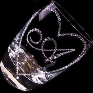 【タンブラー  オープンハート&イニシャル】 結婚祝い 誕生日 プレゼント ギフト スワロフスキー デコグラス