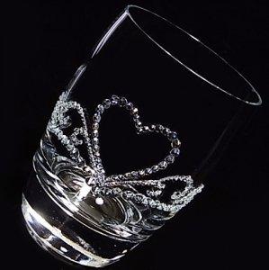 【タンブラー  ハートのティアラ】 高級ギフトボックス付き 結婚祝い 誕生日 プレゼント ギフト スワロフスキー デコグラス