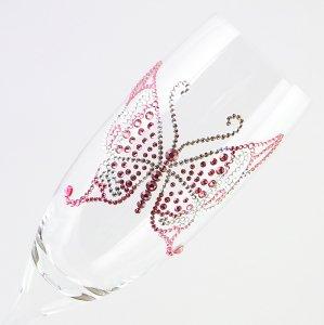【シャンパングラス バタフライ ツートンカラー】 高級ギフトボックス付き 結婚祝い 誕生日 プレゼント ギフト スワロフスキー デコグラス