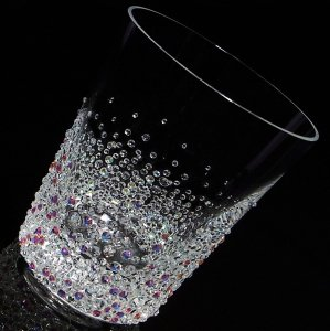 【ロックグラス バブルシャワー 】 結婚祝い 誕生日 プレゼント ギフト スワロフスキー デコグラス