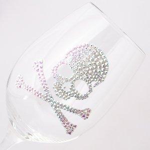 【白ワイングラス スカル フルデコレーション】 結婚祝い 誕生日 プレゼント ギフト スワロフスキー デコグラス
