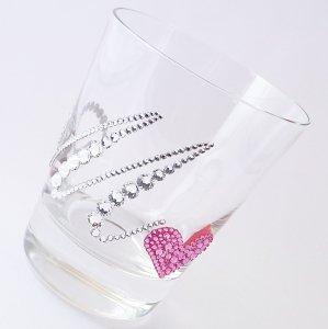 【ロックグラス  イニシャル&ハート】 結婚祝い 誕生日 プレゼント ギフト スワロフスキー デコグラス