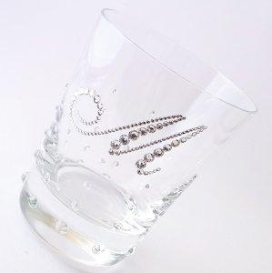 【ロックグラス  バブル&イニシャル】 結婚祝い 誕生日 プレゼント ギフト スワロフスキー デコグラス
