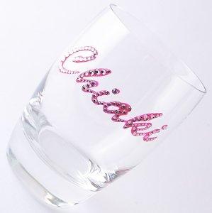 【タンブラー  ネームグラス ローズ】 結婚祝い 誕生日 プレゼント ギフト スワロフスキー デコグラス