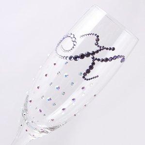 【シャンパングラス イニシャル×ドット柄オーロラ】 結婚祝い 誕生日 プレゼント ギフト スワロフスキー デコグラス