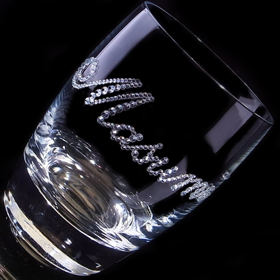 【タンブラー  ネームグラス 筆記体】 結婚祝い 誕生日 プレゼント ギフト スワロフスキー デコグラス