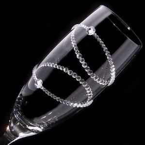 【シャンパングラス 2連リング】 結婚祝い 誕生日 プレゼント ギフト スワロフスキー デコグラス