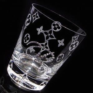 【ロックグラス  モノグラム&イニシャル】 結婚祝い 誕生日 プレゼント ギフト スワロフスキー デコグラス
