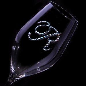 【シャンパングラス ツル イニシャル】 結婚祝い 誕生日 プレゼント ギフト スワロフスキー デコグラス