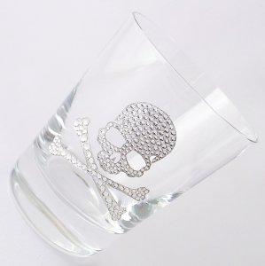 【ロックグラス  スカル サンドブラスト加工】結婚祝い 誕生日 プレゼント ギフト スワロフスキー デコグラス