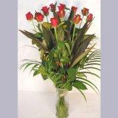 赤バラ花束 花瓶付き
