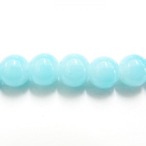 ガラス丸玉/8mm/不透明LightBlue/30個入/アクセサリーパーツ/ビーズ