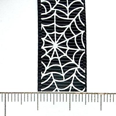 リボン切売/16mm幅/蜘蛛の巣/Black/1m