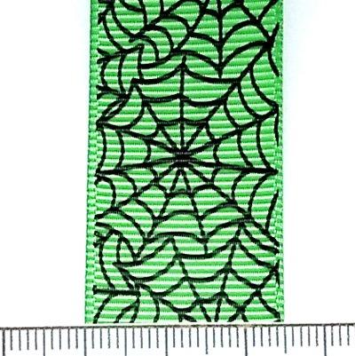 リボン切売/25mm幅/蜘蛛の巣/Green/1m