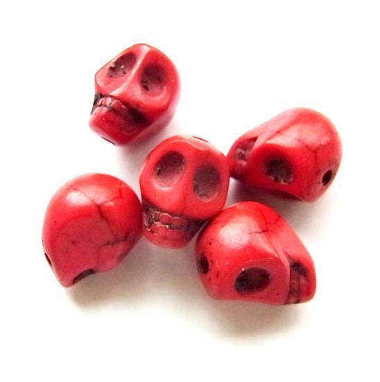 天然石ドクロ/Howlite/Red/5個入/アクセサリーパーツ/チャーム