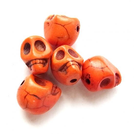天然石ドクロ/Howlite/Orange/5個入/アクセサリーパーツ/チャーム