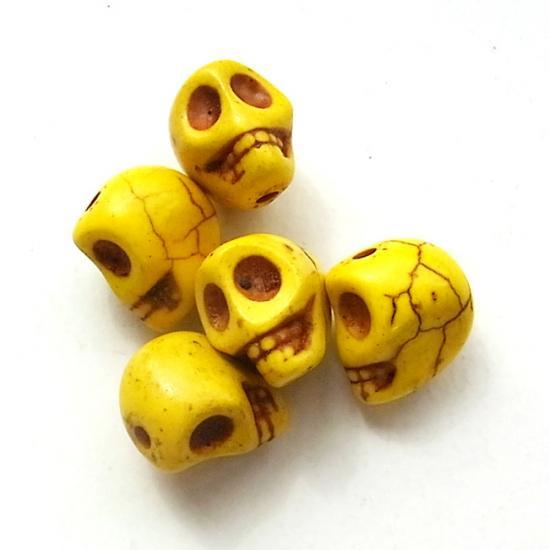 天然石ドクロ/Howlite/Yellow/5個入/アクセサリーパーツ/チャーム