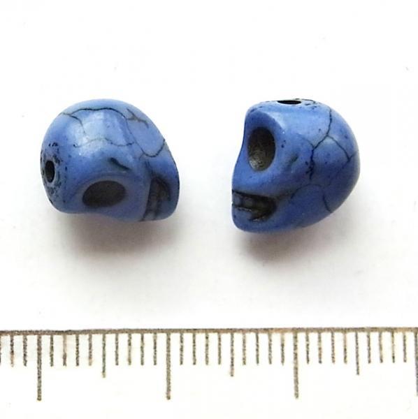 天然石ドクロ/Howlite/Blue/5個入/アクセサリーパーツ/チャーム