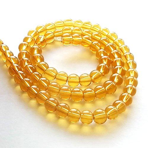 ガラス丸玉/4mm/Goldenrod/40個入/アクセサリーパーツ/ビーズ
