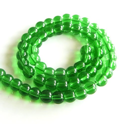 ガラス丸玉/4mm/Green/40個入/アクセサリーパーツ/ビーズ