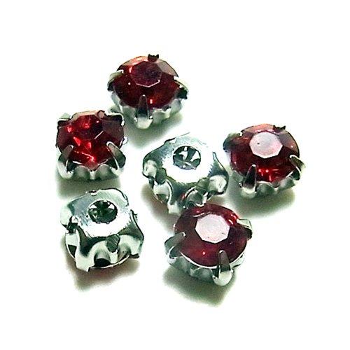 ビジュー丸/5×5/Red/6個入/アクセサリーパーツ/チャーム