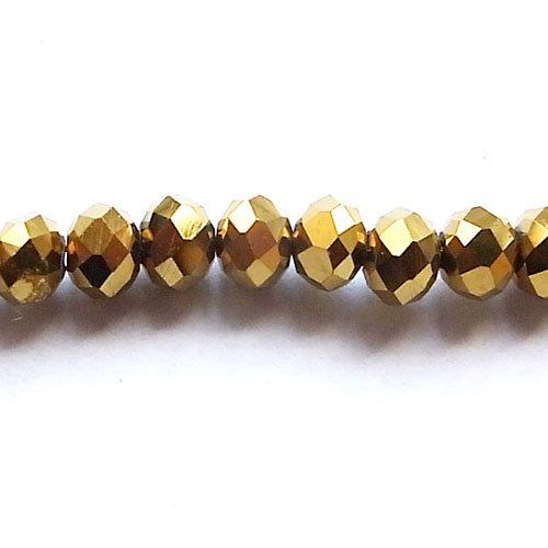 ガラスボタンカット/6mm/Gold/25個入/アクセサリーパーツ/ビーズ