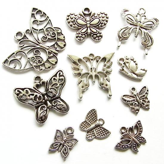 蝶ミックス/アンティークシルバー/7種以上20個入