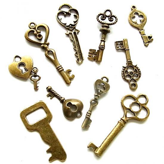 鍵ミックス/アンティークゴールド/7種以上20個入