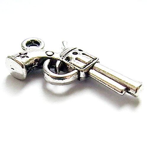 銃/03/アンティークシルバー/4個入/アクセサリーパーツ/チャーム