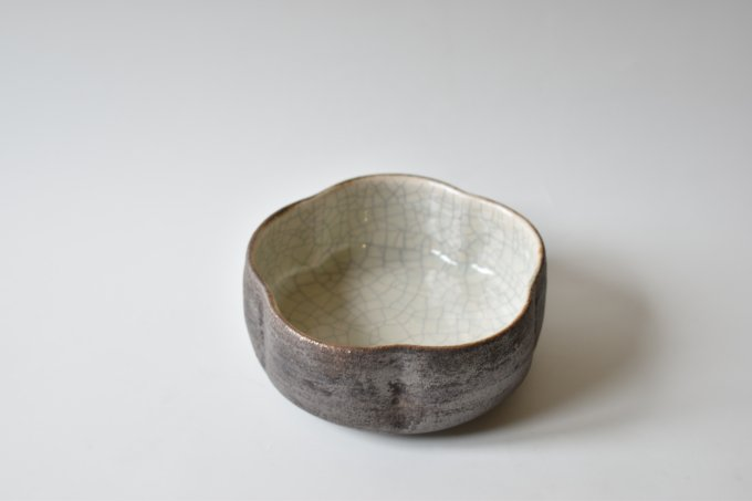 白×黒 筒花小鉢