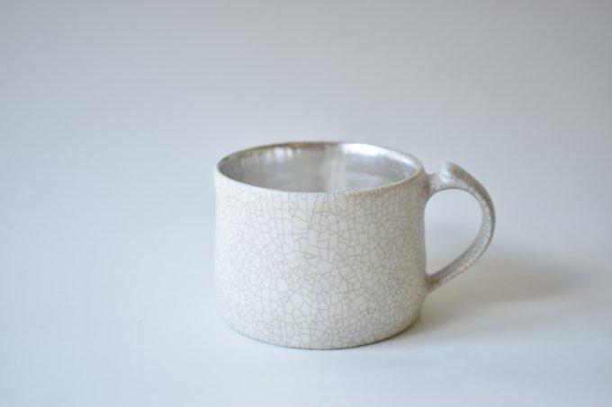 白×シルバー マグカップ