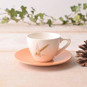 ビンテージ デミタスカップ&ソーサー<br>麦の穂がほっこり描かれたかわいいデミタスセット