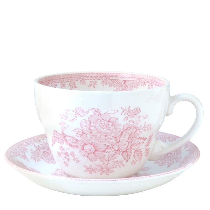 Burleigh Pink Asiatic Pheasant<br>ピンクアジアティックフェザンツ<br>ブレックファースト カップ&ソーサー