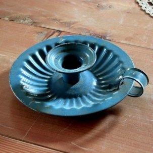 ビンテージ ホーロー製キャンドルホルダー ブルー<br>Antique CANDLE HOLDER