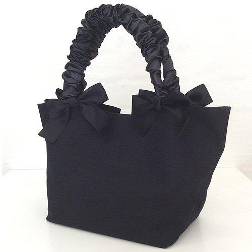 RIBBON×シャーリング キャンバスBAG(M) ブラック/ブラック