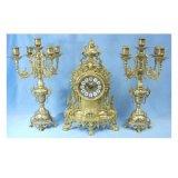 真鍮 ゴールド キャンドルスタンド キャンドルホルダー 蝋燭立 ろうそく立 置時計 3点セット 5本用 イタリア製