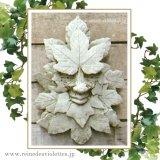 ガーデンプレート 壁掛け 掛型 グリーンマン 妖精 楓 カエデ イギリス製