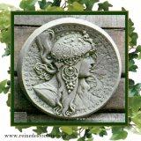 ガーデンプレート 壁掛け 掛型 女神 妖精 王妃 円型 右向き イギリス製